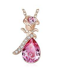 玫瑰花吊坠项链富含施华洛世奇水晶,18k 玫瑰金 粉红色