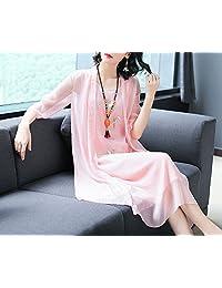 连衣裙女两件套夏麻棉纺天丝绣花复古套装中长裙子大码女装LK-90026