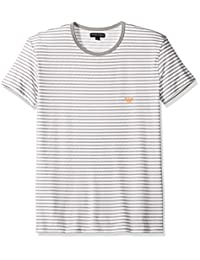 Emporio Armani 男式超细纤维水手条纹圆领 T 恤