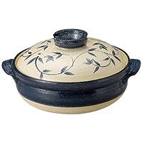 萬古燒 砂鍋(深鍋) 吳須唐草 藍色 9號 13686