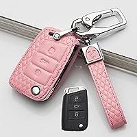 钥匙包钥匙套适用于2018款大众Tiguan钥匙包途欢钥匙壳保护套 大众B款折叠型三键菱格