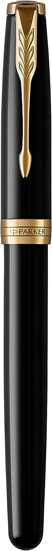 PARKER 派克 Sonnet Fountain 钢笔,金饰黑色漆,实心18k金中号笔尖