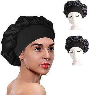 女式浴帽 3 件装缎面内衬睡帽 适用于卷发夜帽 防**帽 (黑色 3 件装)