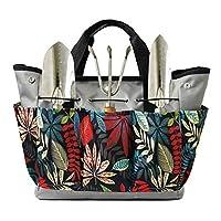 花园工具袋,广口 8 个牛津布口袋手提袋,热带印花,花园工作工具储物袋,弹性带,用于固定工具,带软垫手柄带