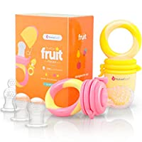 NatureBond 婴儿食品喂食器/水果喂食器安抚奶嘴(两件装) - 婴儿出牙玩具牙胶,激励颜色——包括 6 件所有尺寸硅胶袋 Peach Pink & Lemonade Yellow