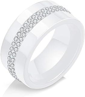 Xusamss 时尚陶瓷双水晶戒指
