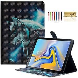 Casii Galaxy Tab A 10.5 2018型号 SM-T590/T595/T597,超薄轻质对开立式磁性保护套带卡槽【自动休眠/唤醒】适用于三星 Galaxy Tab A 10.5 英寸平板电脑
