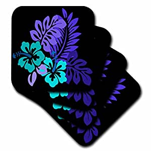 cst_41667_2 Florene Décor II - Hawaiian Turquoise n Purple Floral On Black - Coasters - set of 8 Coasters - Soft