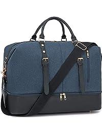 帆布晚装包旅行行李袋真皮男式和女式 Weekender 手提包