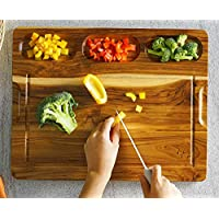 FANICHI 超大柚木切菜板 17.8 英寸 x 14 英寸(约 45.1 x 35.6 厘米)适用于厨房,带 3 个内置隔层和果汁运,重型切菜板,厚雕刻板用于面包果肉