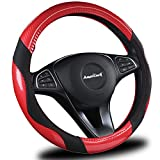 ameriluck Auto 汽车方向盘套高品质20.32cm 通用2018新款设计黑色和红色透气防滑 & 无味美观舒适 FEELING