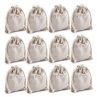 """MIAOMIAO [ 12 件套 ] 可重复使用的棉双拉绳袋,可机洗礼品袋,天然亚麻袋,礼品包装,非常适合生日派对、婚礼和其他赠品 天然 big (5.9""""X7.8"""") COMIN18JU040098"""