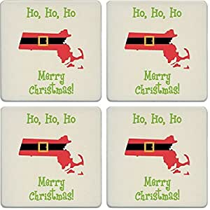 "杯垫吸水杯垫(4 件套) Santa Suit Massachusetts 4-1/4"" LJ0130"