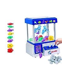 适合各种年龄儿童的 Shark Arcade 爪子游戏机(包括令牌) - 带糖果和玩具的起重玩具游戏 - 提高协调能力,乐趣无穷 - 包括嘉年华音乐和灯光