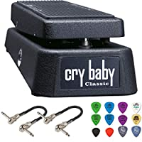 Dunlop GCB95F Cry Baby 经典 Wah 踏板套装,带 2 根 MXR 连接线和 Dunlop 拨片包