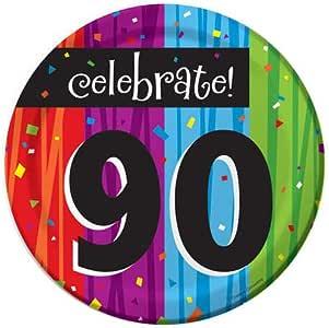 Creative Converting Milestone 庆祝圆形甜点盘,庆祝 90 多种颜色 Dessert 410983