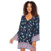 Back From Bali 女式波西米亚印花沙滩裙 V 领宽松束腰上衣泳装罩衫休闲波西米亚太阳裙