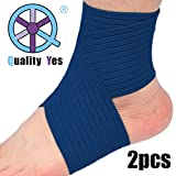 QY 2 件装护踝护膝护腕 - 深蓝色
