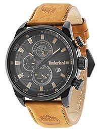 Timberland 添柏岚男式石英手表黑色表盘模拟显示和深棕色皮带 14816JLB/02