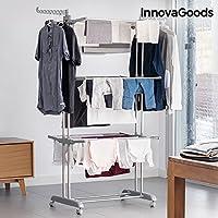 InnovaGoods 平层折叠衣服带轮(18 巴),银色,Unitalla