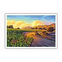 Pacifica Island Art - 葡萄園日落 - 葡萄*鄉村藝術作者 Kerne Erickson - 大師藝術印刷品 12 x 18 in PRTBCS158NL