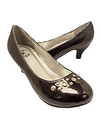 Simply Petals Girl 漂亮派对 皮革高跟鞋带饰钉