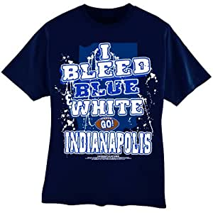 "NFL Indianapolis Colts Football ""I Bleed Blue & White - GO Indianapolis!"" T-Shirt, Blue, Large"