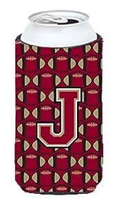 字母 J 橄榄球石和金色长款男孩饮料绝缘器 Hugger CJ1078-JTBC