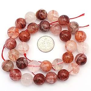 "Natural Gorgeous Round Rutilated Quartz Gemstone DIY Jewelry Making Red Loose Beads Strand 15"" 0.55"""