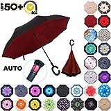 ABCCANOPY 倒置雨伞,双层反向雨伞,适合汽车和户外使用,防紫外线,UPF 50+ 大号直伞,带 C 形手柄和手提袋,*红色
