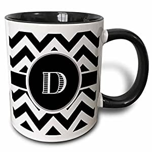 3dRose BrooklynMeme 设计 - 黑白 V 形交织字母首字母 D - 马克杯 黑色/白色 11 oz