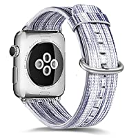 Apple 手表表带 38 毫米真皮表带 38 毫米不锈钢金属扣 适合男士/女士 Apple Watch 系列 3、系列 2、系列 1 及运动版 B9