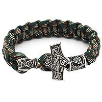 Mjolnir Norse Viking Thor's Hammer Paracord 手镯 WIth Valknut Pagan Amulet Vegvisir 指南针珠子子 辅戒* Scandinavian 手链