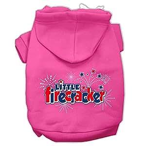 Mirage Pet Products Little Firecracker 丝网印花宠物连帽衫 亮粉色 X大码