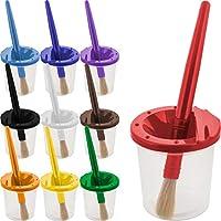 U.S. Art Supply 10 件装儿童防溢喷漆杯带彩色盖和 10 件大号圆刷套装,带塑料手柄