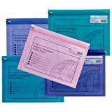 Snopake Electra 拉链袋'S'文件袋,拉链,A4,325 x 235毫米,透明/多色,5件装