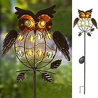 TAKE ME 花园太阳能灯户外,太阳能桩灯 - 金属 OWL LED 装饰花园灯,用于行走、道路、院、草坪(多色) 猫头鹰 4336506436