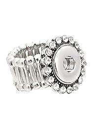 My Prime Gifts 可互换迷你 12 毫米扣式珠宝弹力戒指水钻光环