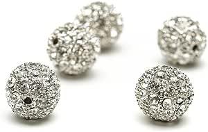 珠子无限 14 毫米金属镶嵌水钻圆珠,5 个装