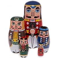 WISWIS 精美手工制作木质俄罗斯美好玩偶礼物俄罗斯美好愿玩偶坚果饼干传统,5 件套