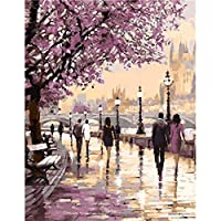 DOERDO Paint by Numbers for 成人 DIY 油画涂料 数字套装 适合成人初学者 Purple walk Oil paint