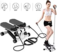 ZHCCCJBOY 健身樓梯踏板迷你踏板健身器可調節樓梯踏板帶阻力帶 LCD 顯示健身鍛煉機室內鍛煉