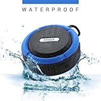Coby 防水淋浴扬声器 - 便携 - 无线蓝牙 - 防水 - 泳池派对/浴室音乐 - 麦克风和应答按钮 用于媒体快捷键 坚固紧凑带内置吸盘CSBT328BLU