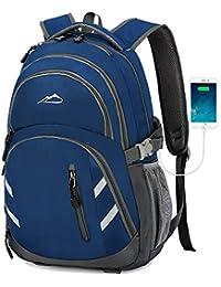 学生商务旅行背包书包,带 USB 充电端口,适合笔记本电脑,*大 15.6 英寸 中