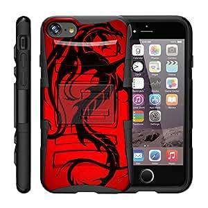 "TurtleArmor ¬Æ兼容苹果 iPhone 7 Plus 手机壳 ¬Ø (5.5"") [超抗震] 混合双层装甲皮套皮带夹支架- 红色龙"