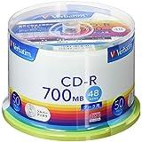 三菱化学媒体 Verbatim CD-R(Data) 1次记录用700MB 48倍速 50张主轴箱SR80FC50V1 银色 磁盘
