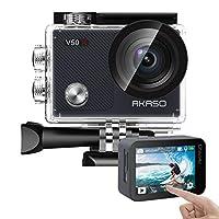 AKASO V50X 本机 4K30fps WiFi 运动相机带 EIS 触摸屏,4X 变焦 131英尺防水相机支持外部麦克风遥控运动相机,带头盔配件套件