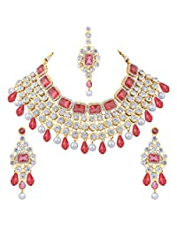 aheli 时尚派对服饰水钻珠宝套装婚礼项链和耳环套装