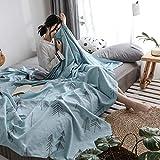 J.H.Longess 色织全棉纱布夏被盖毯毛巾被双层棉纱单双人空调被夏凉薄被子 (Pr.松柏绿, 150 * 200cm)