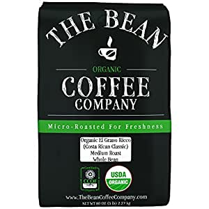 The Bean Coffee Company Organic El Grano Ricco (Costa Rican Classic), Medium Roast, Whole Bean, 5-Pound Bag